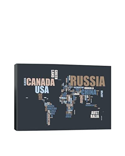 Michael Tompsett World Map In Words Gallery Wrapped Canvas Print