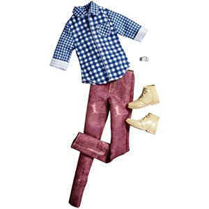 Barbie Ken Fashion Outfit Checked Shirt And Maroon Trousers