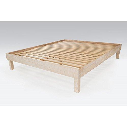 ABC MEUBLES - Letto matrimoniale grande 180x200cm legno - CONF180 - Legno Grezzo, 180x200