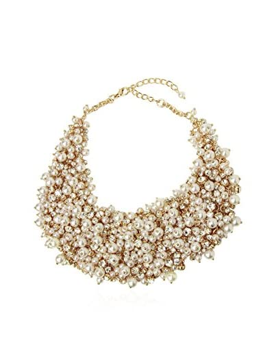 Saachi Gold-Tone Freshwater Cultured Pearl & Crystal Cluster Necklace