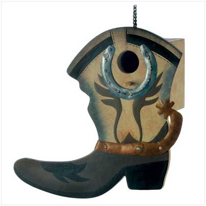 Gifts & Decor Wild West Western Cowboy Boot Theme Garden Bird House