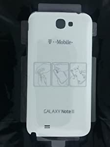 Brand New T-Mobile Samsung Galaxy Note II 2 White Door Back Cover OEM