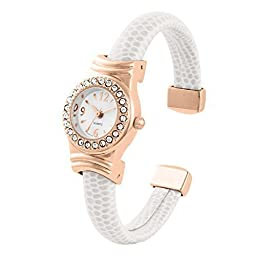 Beautiful White leather wrapped ladies mini bangle/cuff watch with cubic zirconia bezel and rose gold plated case