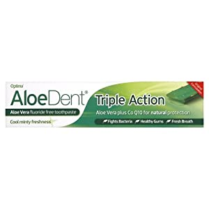 AloeDent Triple Action 100 ml Aloe Vera Fluoride-Free Toothpaste - Pack of 3