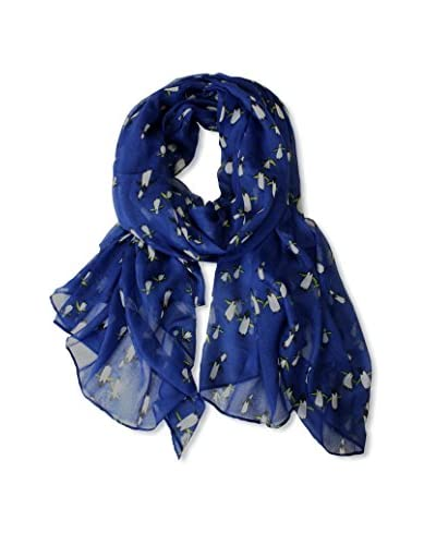 Printed Village Women's Penguins Scarf, Blue