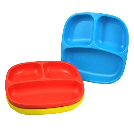 Re Play 3 Count Divided Plates, Red, Yellow, Blue Kids, Infant, Child