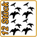 12 Vogel Aufkleber Greifvogel Wintergarten Fenster Schutz Vogelaufkleber Warnvogel Vogel-Silhouetten Vogelschutz