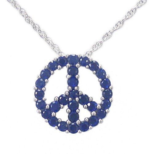 Sterling Silver Created Blue Sapphire Peace-Sign Pendant Necklace , 18