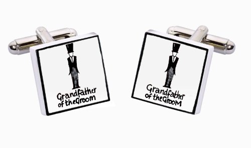 Sonia Spencer England Bone China Square Silver Plated Back Classic Grandfather Of The Groom Cufflink