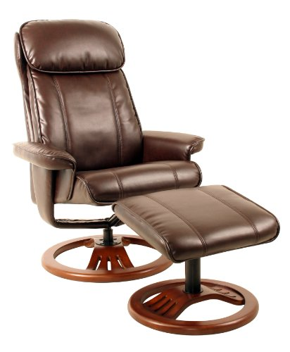 Global Furniture Alliance Dublin Bonded Leather Recliner Chair and Footstool, Chocolate