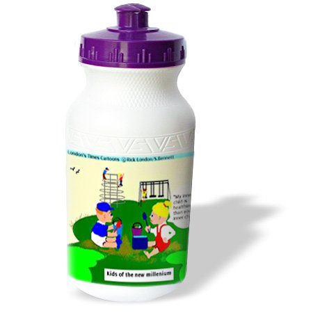 Wb_2285_1 Londons Times Funny Medicine Cartoons - Kids Of The New Millenium - Water Bottles front-233809