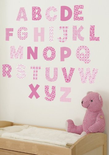 Funtosee Upper & Lowercase Alphabet Wall Decals, Pink