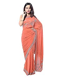 Eirene Women's Georgette Hand Embroidery Saree (S003, Dark Peach)