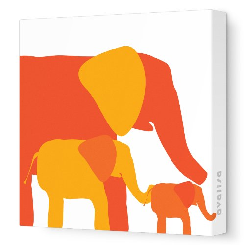 "Avalisa Stretched Canvas Nursery Wall Art, Elephant, Orange Hue, 18"" x 18"""