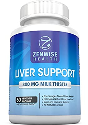 Liver Support Supplements - With 300 MG of Natural Silymarin Milk Thistle Extract - Premium Cleanse & Detox Formula for Ultimate Liver Health and Protection - 60 Count Capsules - Zenwise Health
