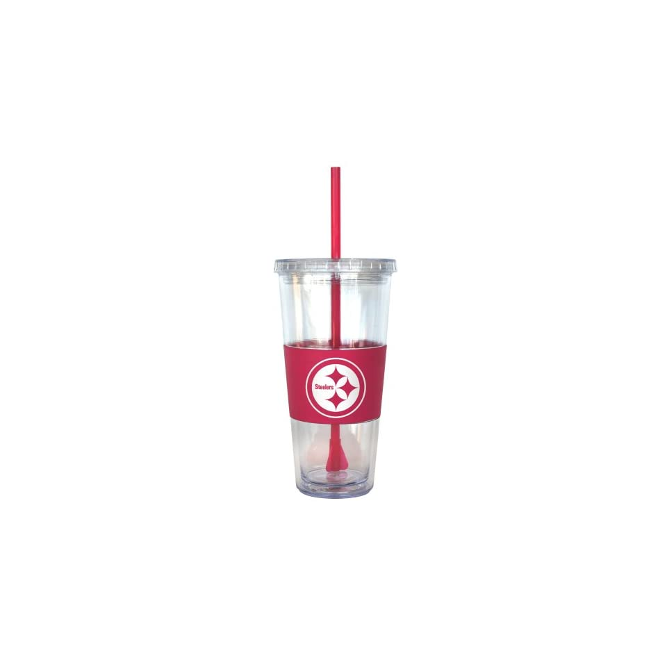 NFL Pittsburgh Steelers Pink Tumbler with Straw, 22 Ounce