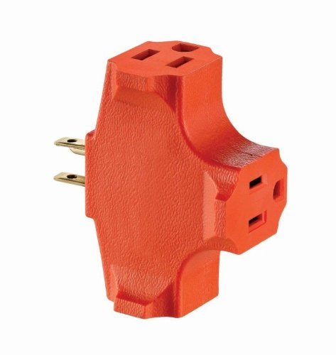 Leviton 694 15 Amp, 125 Volt, Heavy Duty Grounded Triple Outlet Adapter, Orange
