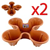 2 x Quadro Planters - Stackable Garden Plant Pots (Brown)