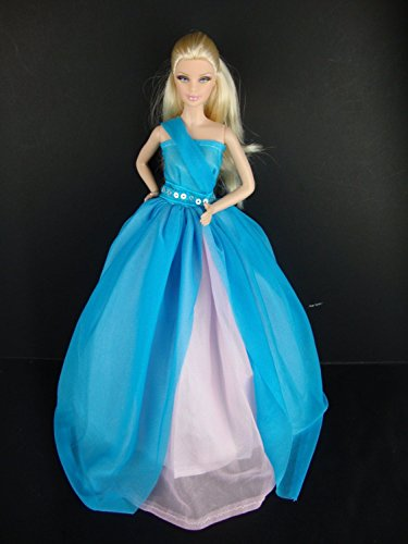An Amazing One Shouldered Gown in Blue and Pink Made to Fit the Barbie Doll