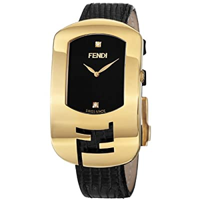 Fendi Large Chameleon Black Leather Strap Yellow Goldtone Diamond Watch F300431011D1