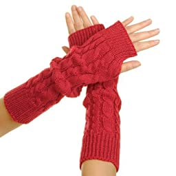 Eforcase Women Girl Knitted Soft Warmer Braided Fingerless Thumb Hole Gloves