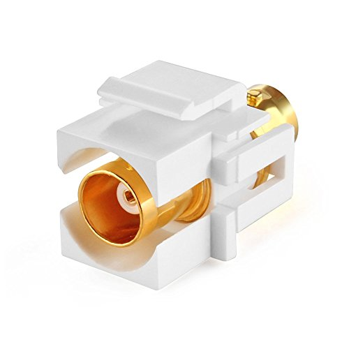 TNP BNC Keystone Jack Insert Connector Socket Female Snap In Adapter Port Gold Plated Inline Coupler For Wall Plate Outlet Panel Mount (White) (Usb To Subminiature Usb Plug compare prices)