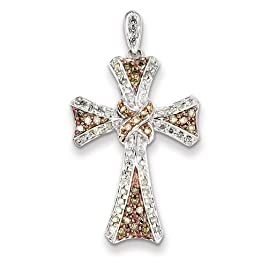 Sterling Silver & Rhodium Diamond Cross Pendant