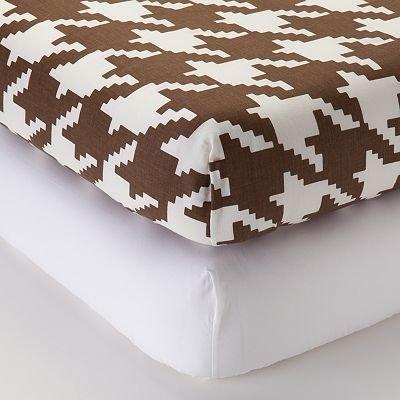 Metro Khaki/Choc 2 Crib Sheets