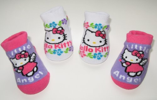 Hello Kitty Newborn Infants Baby Purple White Pink Angel Design Booties 0-12months Two Pairs; New in Box + Free 3.5mm Anti Dust Plug Random Pick