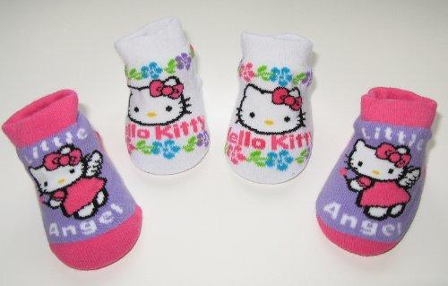 Hello Kitty Newborn Infants Baby Purple White Pink Angel Design Booties 0-12months Two Pairs; New in Box + Free 3.5mm Anti Dust Plug Random Pick