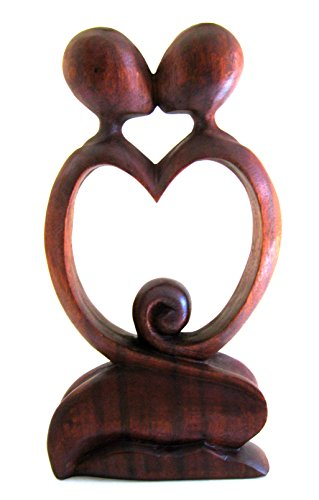 Wood Carved Love And Kiss Statue Love Of My Life Abstract Modern Art, Size 10