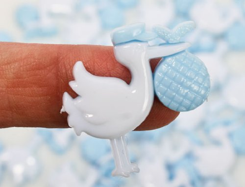 1 Inch Cute Blue Stork Plastic Baby Shower Favor-100 Pieces