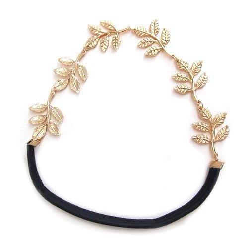 Gold Leaf Elastic Fashion Headband Hair Accessory