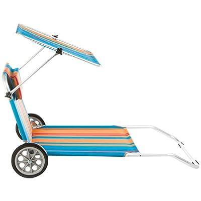 Ultranatura 200100001082 Strandliege Nizza mit Sonnendach und Rädern, mehrfarbig von Ultranatura auf Gartenmöbel von Du und Dein Garten