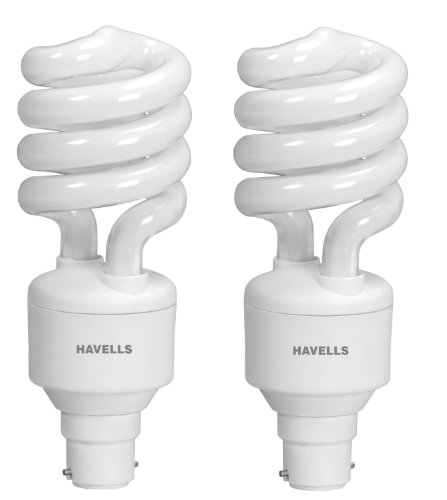 Havells Spiral Shape T3 B-22 20W CFL Bulb (Warm White, Pack of 2)