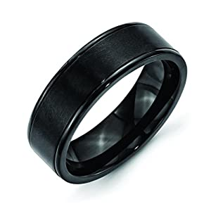Stainless Steel 7mm Black Ip-Plated Grooved Brushed/Polished Band, Size 9