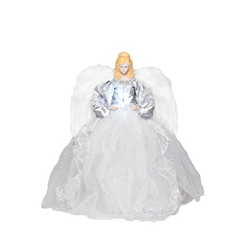 Angel Figures Exclusive Angel Tree Topper Dressed In Elegant White And Silver Gown And Holds An Led Star, 16-Inch