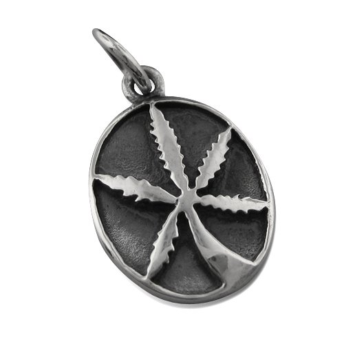 925 Silver Oval Marijuana Pendant Hawaiian Jewelry