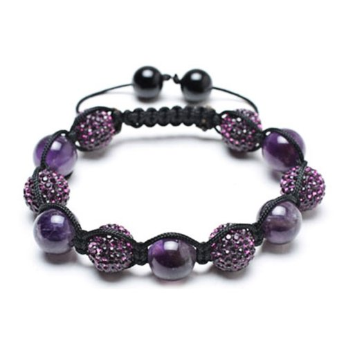 Bling Jewelry Bracelet Shamballa Inspired Purple Crystal Bead Amethyst Stones 12mm