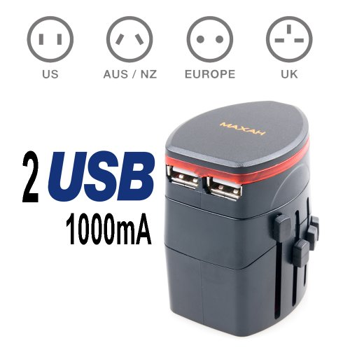 Maxah® All In One Universal Travel Ac Us Eu Au Uk Power Plug Charger Adapter With 1A Dual 2 Port Usb