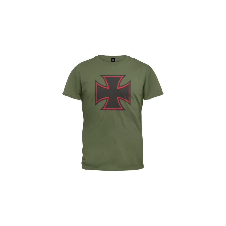 Old Glory   Mens Iron Cross T shirt Medium Dark Green
