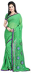 Shree Creation Women's Georgette Saree with Blouse Piece (Green)