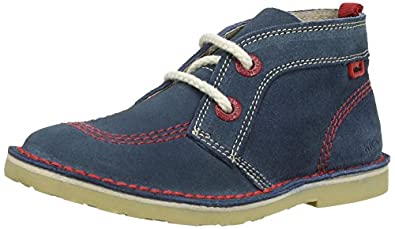 Kickers Boys Adlar Pop Suede Desert Boots 112943 Blue/Red 5 UK Child, 22 EU