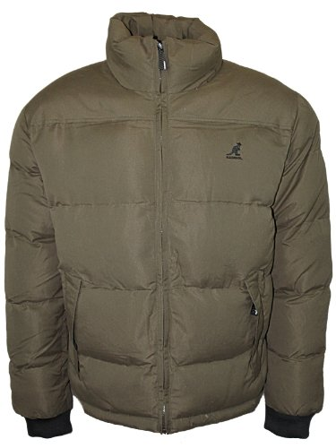 E15 Mens Khaki Kangol Topper Heavy Quilted Warm Winter Puffer Jacket Size S