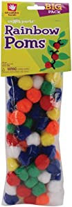 Fibre Craft 100-Pack Pom Pons, Rainbow