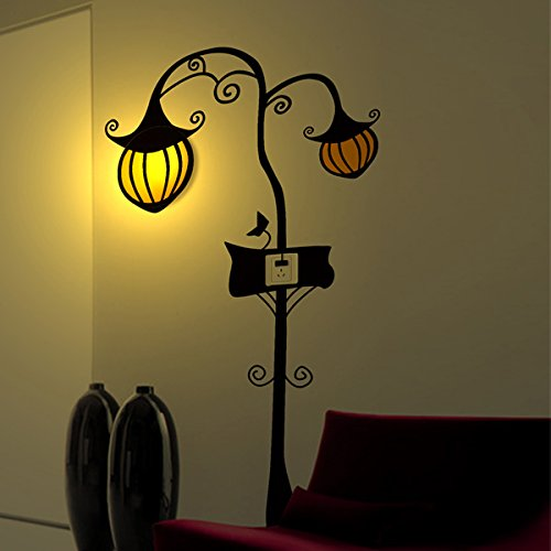 3D Wallpaper Pumpkin Stickers Wall Lamp Decoration Cartoon Lamp