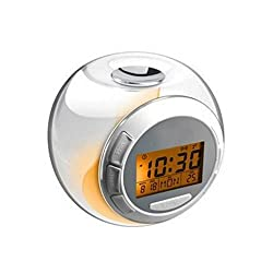 Natural Sound Alarm Clock 7 Color Changing Light LED Screen 3AAA Battery Powered Small Music Alarm Clock