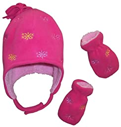 N\'Ice Caps Girls Sherpa Lined Micro Fleece Set with Flowers Embroidery (12-24 months, fuchsia)
