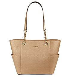 Calvin Klein Saffiano Leather Chain Tote (Gold)