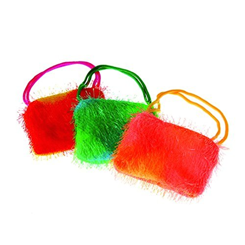 One Assorted Rainbow Color Fuzzy Plush Mini Purse With Handles - 1